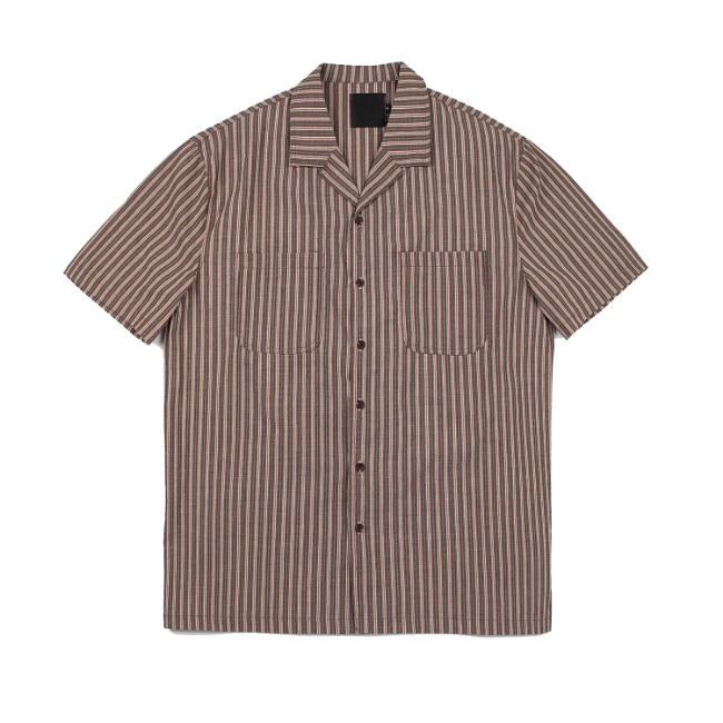 SEERSUCKER STRIPE SHIRT BROWN