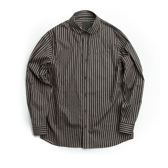 WIDE COLLAR STRIPE SHIRT BLACK