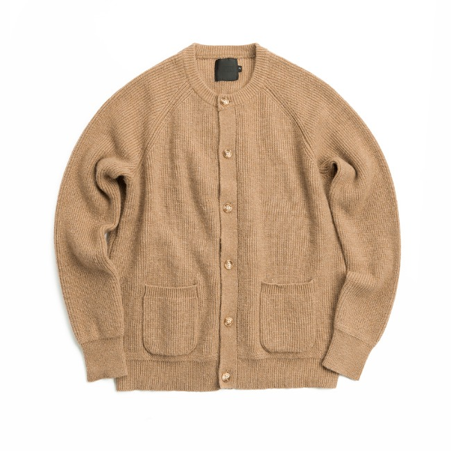 REGULAR WOOL CARDIGAN BEIGE