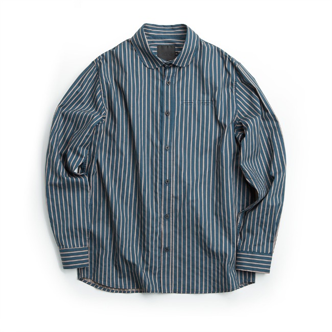 WIDE COLLAR STRIPE SHIRT FLAT BLUE