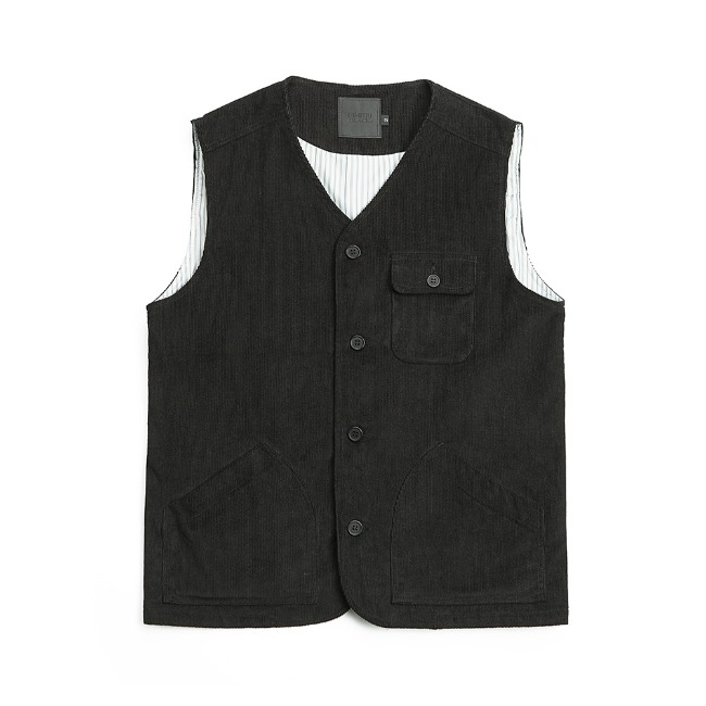CORDUROY FATIGUE VEST BLACK