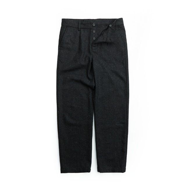 WOOL HERRINGBONE PANTS LIGHT BLACK