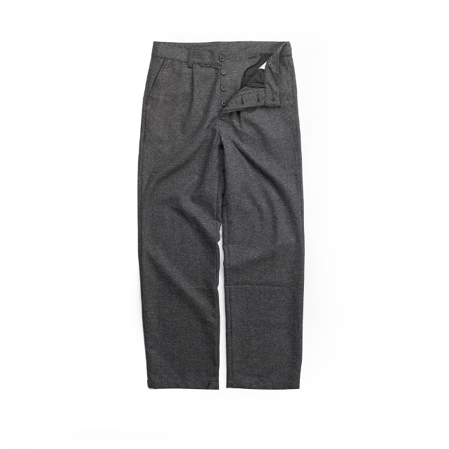 WOOL FLANNEL PANTS GRAY