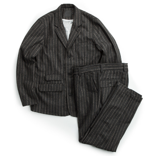 WOOL STRIPE SET-UP DARK GRAY