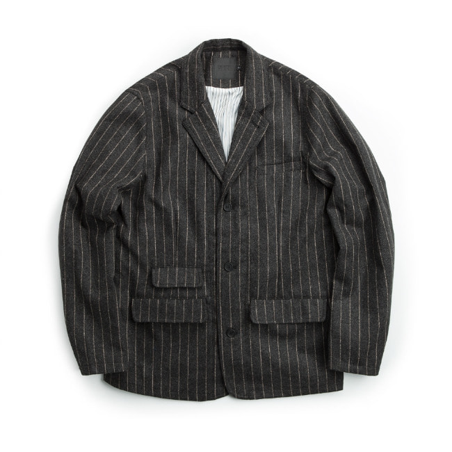 WOOL STRIPE JACKET DARK GRAY