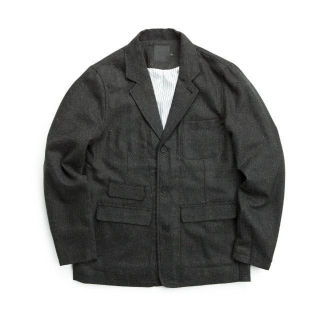WOOL FLANNEL JACKET LIGHT BLACK