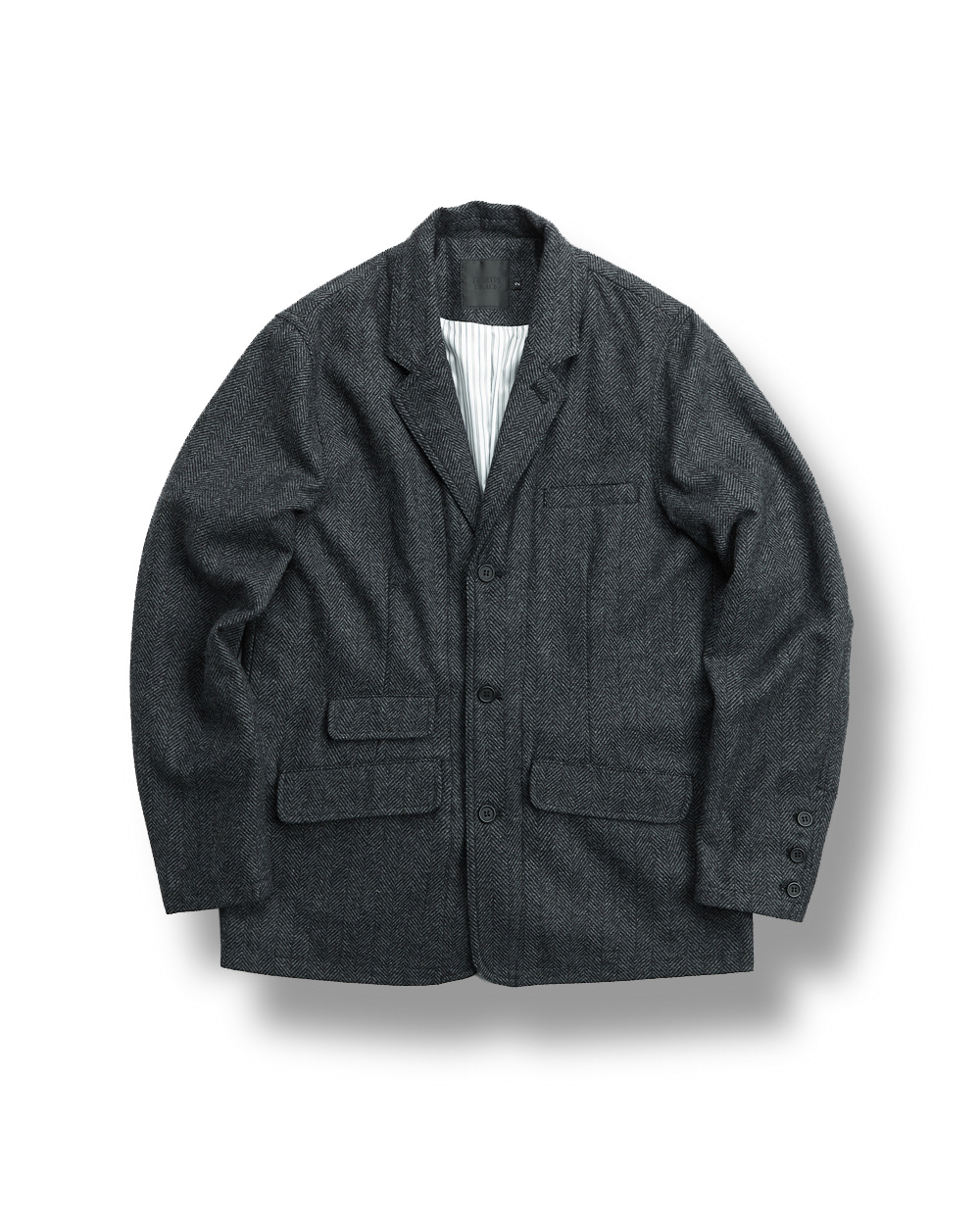 WOOL HERRINGBONE JACKET DARK GRAY