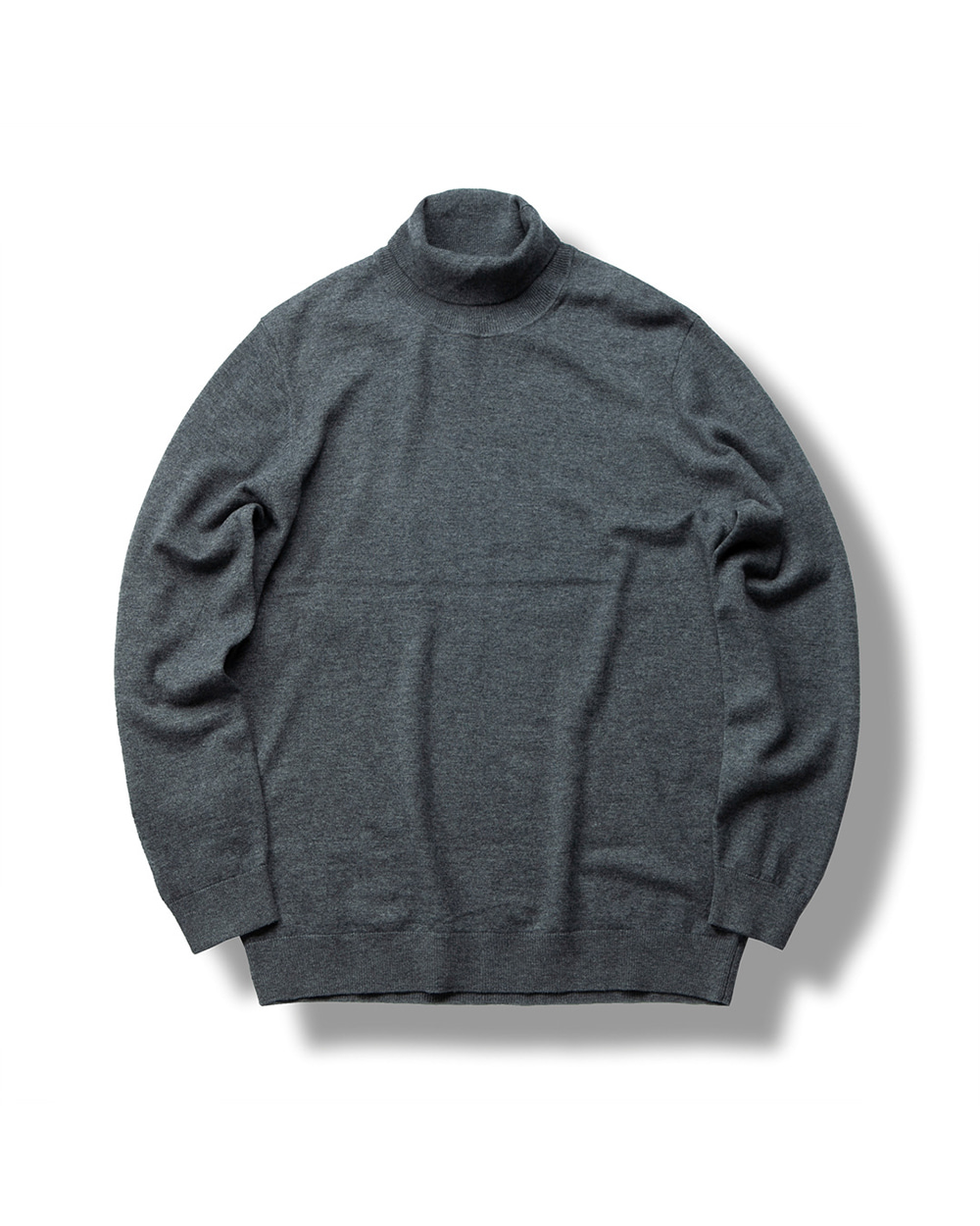 MERINO WOOL TURTLENECK SWEATER GRAY