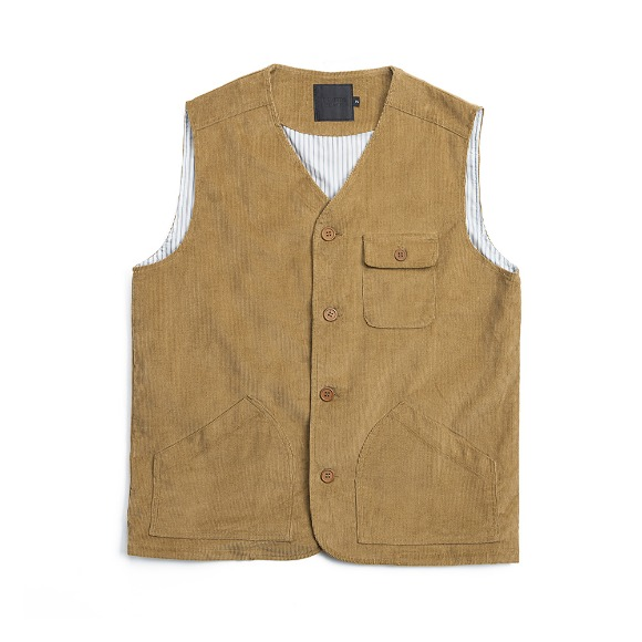 CORDUROY FATIGUE VEST CHESTNUT