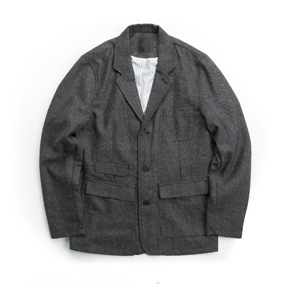 WOOL FLANNEL JACKET GRAY