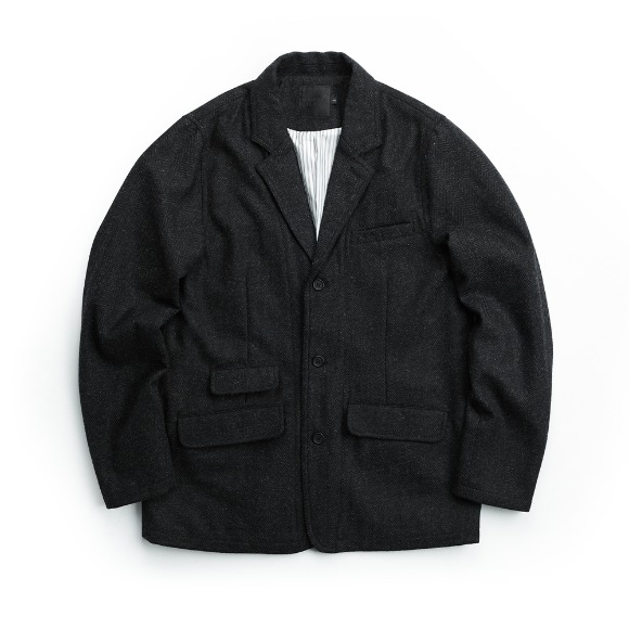 WOOL HERRINGBONE JACKET LIGHT BLACK