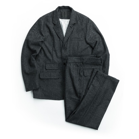 WOOL HERRINGBONE SET-UP DARK GRAY