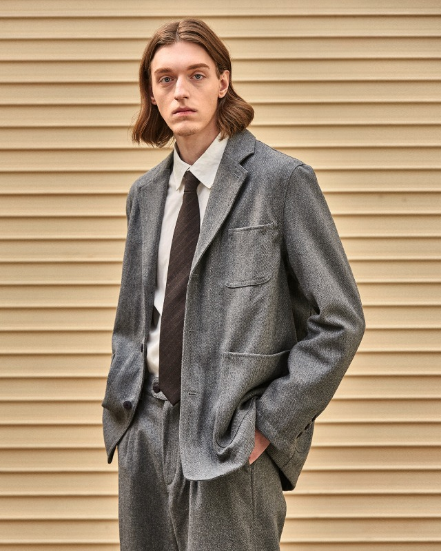 WOOL TWILL JACKET GRAY