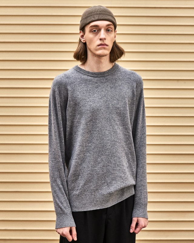 FINE WOOL CREWNECK KNIT GRAY