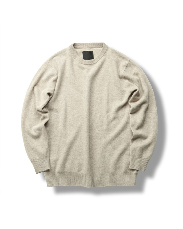 FINE WOOL CREWNECK KNIT OATMEAL